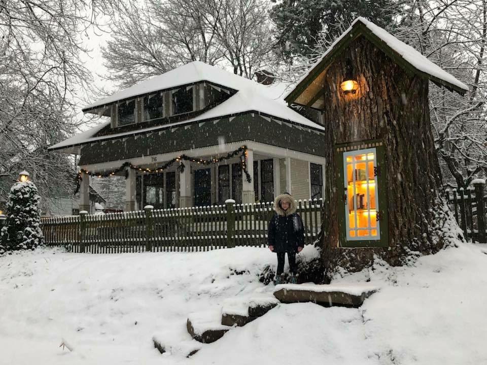 Offener Buchschrank in 110 Jahre altem Baum