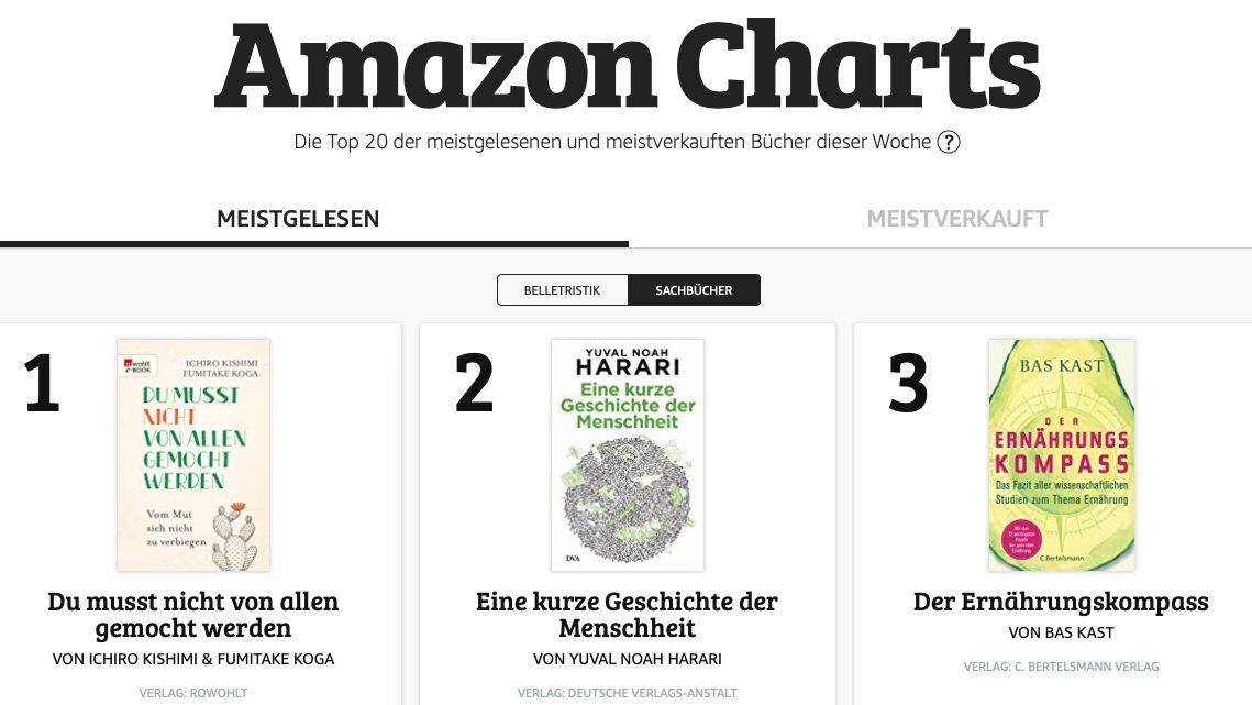 Neue Bestseller-Charts von Amazon – was Nutzer*innen wirklich lesen und hören