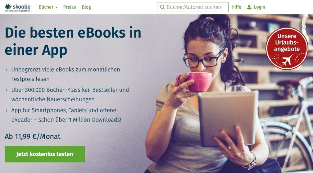 Skoobe bietet E-Books als Flatrate mit monatlichen Gebühren